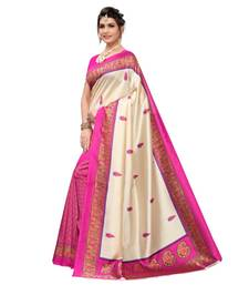 Cream Art Silk Printed Saree With Blouse For Women
