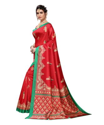 Red Art Silk Printed Saree With Blouse For Women