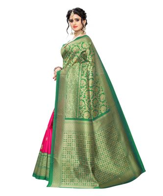 Green Art Silk Printed Saree With Blouse For Women