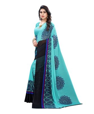Blue Georgette Printed Saree With Blose For Women