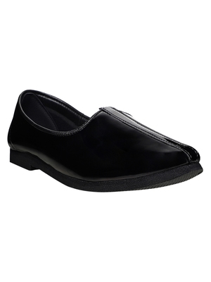 Vardhra Men's Black Patent Leather Casual Mojari/Jutti