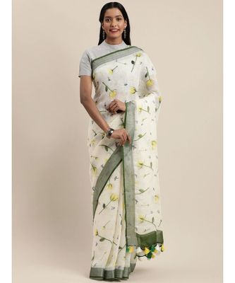 Off-White Pure Linen Floral Printed Bhagalpuri Saree