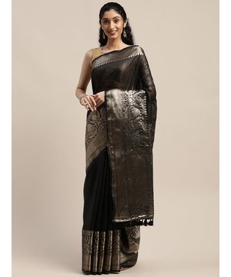 Black Pure Linen Solid Handloom Banarasi Saree