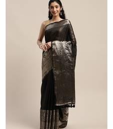 Black Pure Linen Solid Handloom Banarasi Saree