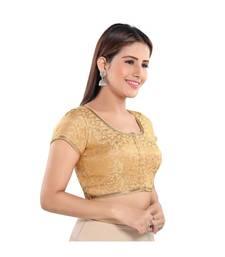 Salwar Studio Women's Gold Jacquard Readymade Saree Blouse