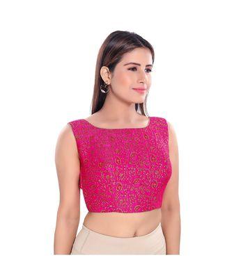 Salwar Studio Women's Pink Jacquard Readymade Saree Blouse
