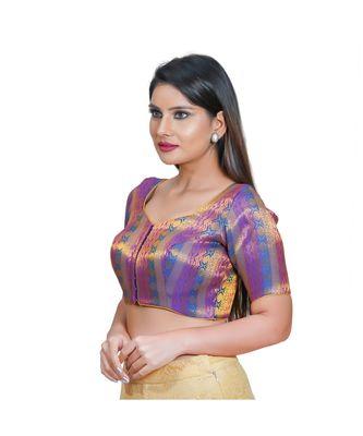Salwar Studio Women's Brinjal Jacquard Readymade Saree Blouse