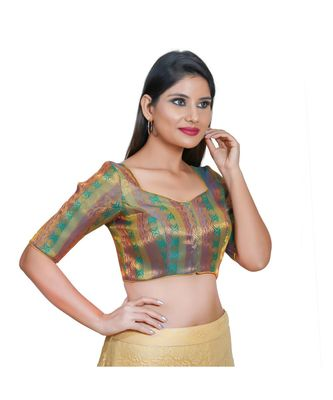 Salwar Studio Women's Rama Green Jacquard Readymade Saree Blouse