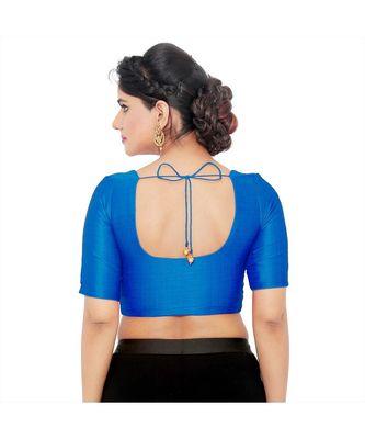 Salwar Studio Women's Dark Blue Art Silk Readymade Saree Blouse