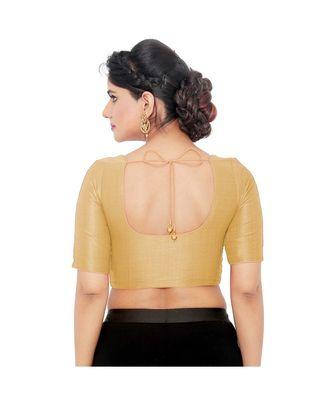Salwar Studio Women's Gold Art Silk Readymade Saree Blouse