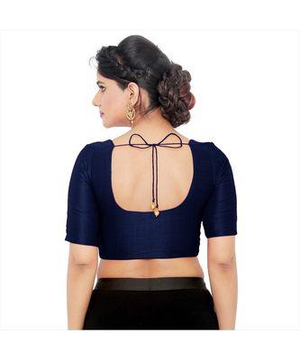 Salwar Studio Women's Navy Blue Art Silk Readymade Saree Blouse
