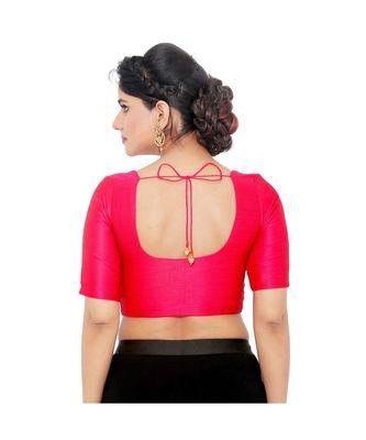 Salwar Studio Women's Pink Art Silk Readymade Saree Blouse