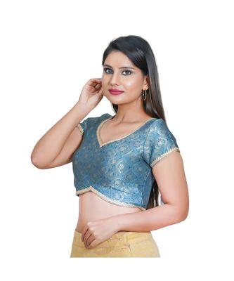 Salwar Studio Women's Peacock Blue  Jacquard Readymade Saree Blouse