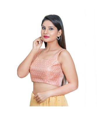 Salwar Studio Women's Dark Peach Jacquard Readymade Saree Blouse