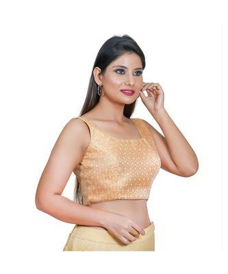 Salwar Studio Women's Peach Jacquard Readymade Saree Blouse