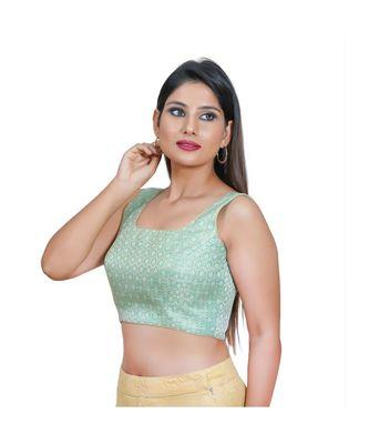 Salwar Studio Women's Sea Green Jacquard Readymade Saree Blouse