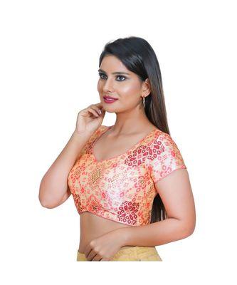 Salwar Studio Women's Cream Jacquard Readymade Saree Blouse