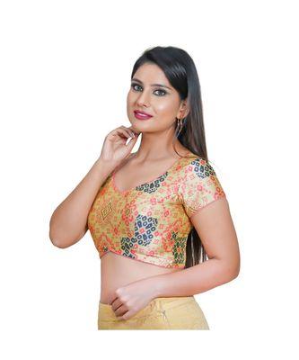 Salwar Studio Women's Pista Green Jacquard Readymade Saree Blouse