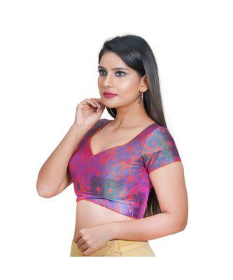 Salwar Studio Women's Rama Green Jacquard Readymade Saree Blouse