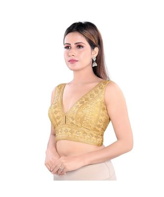 Salwar Studio Women's Gold Art Silk Readymade Saree Blouse