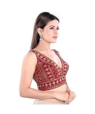 Salwar Studio Women's Maroon Art Silk Readymade Saree Blouse