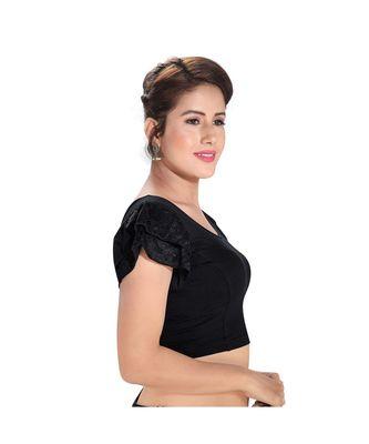 Salwar Studio Women's Black Cotton Lycra Blend Readymade Stretchable Saree Blouse