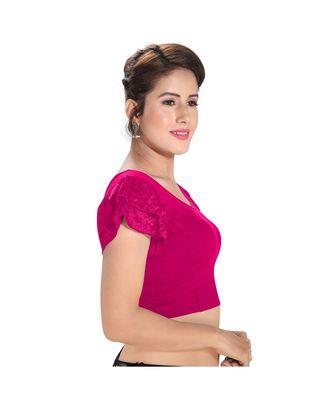 Salwar Studio Women's Pink Cotton Lycra Blend Readymade Stretchable Saree Blouse