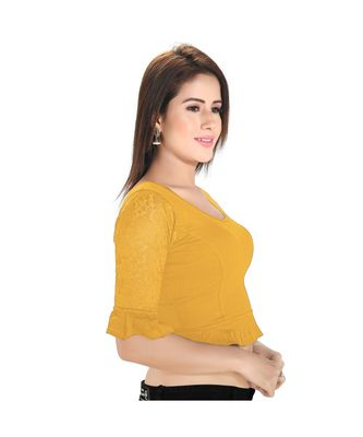 Salwar Studio Women's Gold Cotton Lycra Blend Readymade Stretchable Saree Blouse