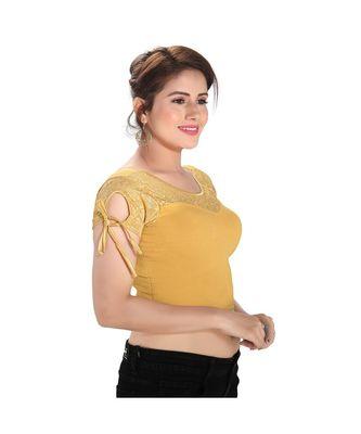 Salwar Studio Women's Gold Cotton Blend Readymade Stretchable Saree Blouse