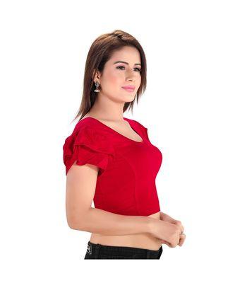 Salwar Studio Women's Red Cotton Lycra Blend Readymade Stretchable Saree Blouse