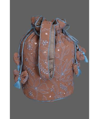 Ada Hand Embroidered Salted Caramel Brown Georgette Lucknow Chikankari Potli-A598556