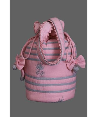 Ada Hand Embroidered Pink Cotton Lucknow Chikankari Potli-A494113