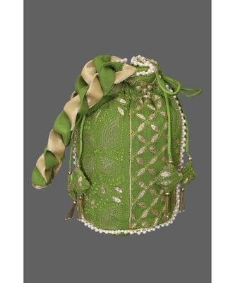 Ada Hand Embroidered Green Georgette Lucknow Chikankari Potli With Gotapatti Work-01A5497