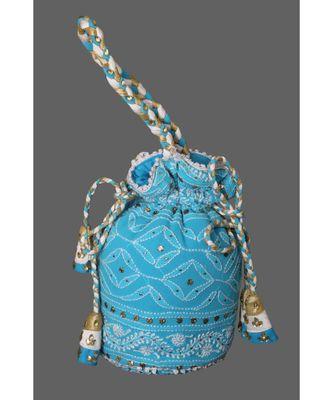 Ada Hand Embroidered Blue Georgette Lucknow Chikankari Potli With Muqaish Work-01A5494