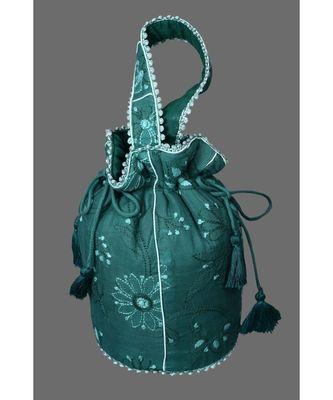 Ada Hand Embroidered Green Cotton Lucknow Chikankari Potli- A608521