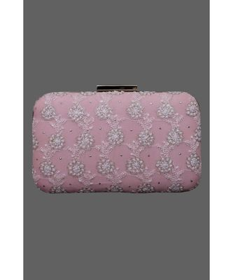 Ada Hand Embroidered Pink Pure Georgette Lucknow Chikankari Clutch With Muqaish Work- A606019