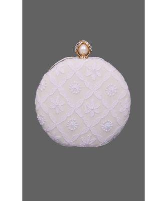 Ada Hand Embroidered White Pure Georgette Lucknow Chikankari Clutch- A548998