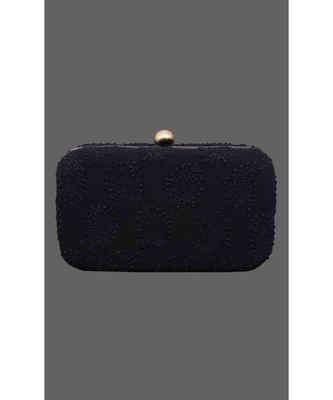 Ada Hand Embroidered Black Pure Georgette Lucknow Chikankari Clutch- A548979