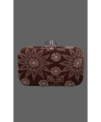Ada Hand Embroidered Brown Pure Georgette Lucknow Chikankari Clutch- A548987