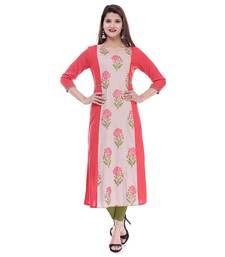 Light-multicolor printed cotton cotton-kurtis