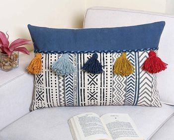 Navy Blue Cotton Hand Block Print Multi Tassel Rectangle Cushion Cover