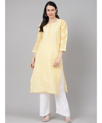 Ada Hand Embroidered Yellow Cotton Lucknow Chikan Kurti-A411152