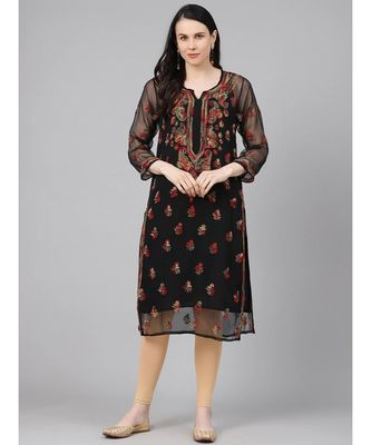 Ada Hand Embroidered Black Georgette Lucknowi Chikan Kurti With Slip-A411154