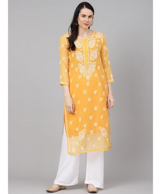 Ada Hand Embroidered Mustard Georgette Lucknow Chikan Kurti With Slip-A411158