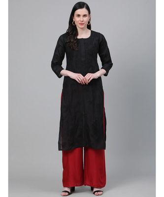 Ada Hand Embroidered Black Cotton Lucknow Chikan Kurti-A215306