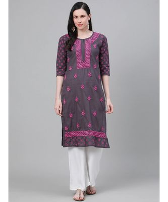 Ada Hand Embroidered Grey Cotton Lucknow Chikan Kurti-A411147