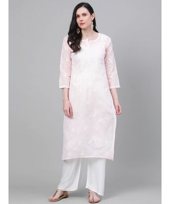 Ada Hand Embroidered Pink Cotton Lucknow Chikan Kurti-A411151