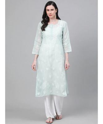 Ada Hand Embroidered Light Pistachio Green Cotton Lucknow Chikan Kurti-A411138
