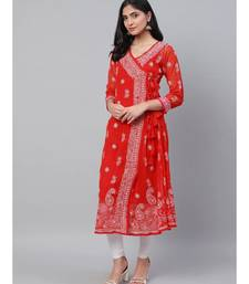 Ada Hand Embroidered Red Georgette Lucknow Chikankari Angarkha Kurti- A100593