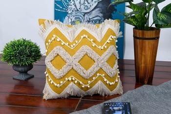 Cotton Pastel Boho Daimond Shaggy Home Decorative Soft Cushion Cover